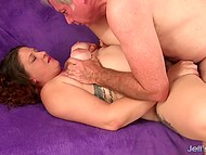 Man is burning with desire touching huge hooters and getting down to make fat woman happy with anal fucking 10