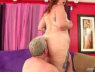 Man is burning with desire touching huge hooters and getting down to make fat woman happy with anal fucking 4