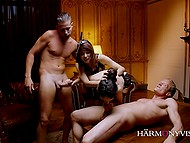 Elite courtesans in lace lingerie let clients double penetrate them during foursome