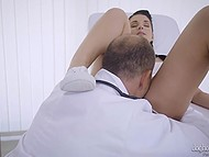 Patient with pigtails asks doctor to examine her pussy but he shoves cock inside her 4