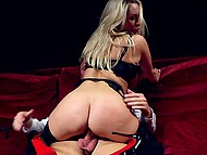Stylish tempter has no reason to refuse mind-boggling blonde in stockings from riding his boner 5