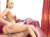 It's no wonder old pervert has suck a pleased face while young babe puts pussy on his penis