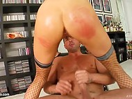 Babe has to sleep her way to the top so she starts with porn director and his friend in gonzo porn 5