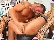 Babe has to sleep her way to the top so she starts with porn director and his friend in gonzo porn 7