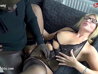 MILF doesn't mind black man gaping her pussy with big cock and then pouring sperm over lips