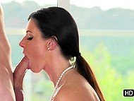 Great blowjob from dark-haired woman provokes younger boy to take her from behind 3