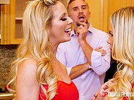 Threesome sex in kitchen makes busty lovelies Olivia Austin and Cherie Deville best friends 4