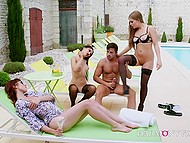 Husband fulfills wife's fantasy and fucks two babes when she watches them and masturbates