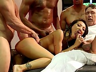 Researchers make oriental pornstar Asa Akira reach the highest point of pleasure shoving solid penises in all her openings