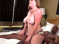 Tattooed BBW can't believe her luck because her cunt getting fucked by hard black stick 10