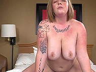 Tattooed BBW can't believe her luck because her cunt getting fucked by hard black stick 6