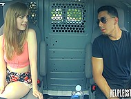 Girl is ready to do anything for a ride and Latin driver ties up her hands then gives penis for blowing 5