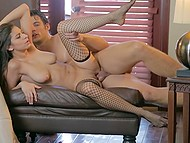 Facial cumshot is great ending of sex of babe in fishnet stockings and her boyfriend 6