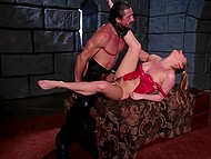 Erotically attractive girl with small waist liked athletic man's cock to suck and fuck in dungeon 10