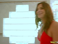 Latina realtor in red dress shows to client not just building for sale but also her nude goodies 4