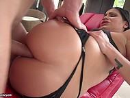 Entire set of lingerie was of the same color as hair of tall model, who received dick in anal hole 5