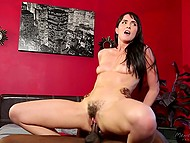 There was no massage because brunette with unshaven pussy won the top of client's black cock 8