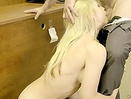 Flirting with colleague bear fruit and soon blonde gets desired penis in trimmed pussy 7