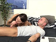 Tall brunette catches bf jerking off watching porn and reminds him about her tight pussy 9