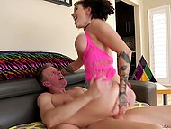 Inked MILF with big juicy tits is analyzed in several positions by experienced colleague 9