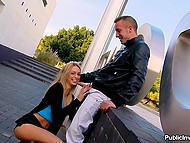 Young blonde woman took handsome man outside to give him extreme blowjob in public place 6