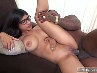 Giant black rod can't fit even halfway inside small pussy of voluptuous Arab pornstar 4