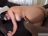 Giant black rod can't fit even halfway inside small pussy of voluptuous Arab pornstar 8