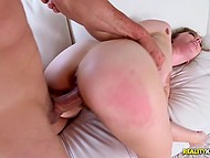 Hot bitch Lena Paul with succulent breasts cordially welcomes big dick of bald fucker in hairy cunt 10