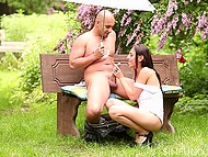 There was rainy outside but bald partner hold umbrella above brunette girl while she sucked cock 11