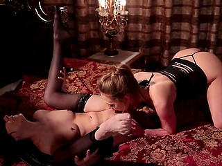 Brunette in lace stockings can find girlfriend's sweet pussy even being blindfolded