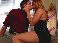 Lecher thanks her savior who has taken the blame and gives him blowjob and pussy in bedroom 6