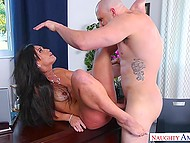 Bald man with big cock wants sweetheart MILF to make his dream of office fucking come true 7