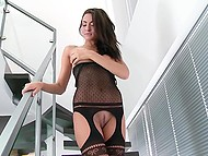 Skinny babe in transparent set of lingerie flashes her well-groomed pussy on stairs 4
