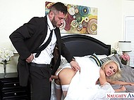 MILF is just a prey for concupiscent predator fucking her pussy at the time of wedding
