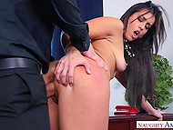 Bald boss has no reason to abstain from fucking brunette secretary with strong booty in office