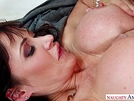 Super-busty brunette Eva Karera in stockings won't guy go home until he fucks sexy MILF properly 5