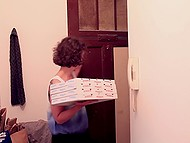 Young couple just finishes sensitive fucking when courier delivers them some hot pizza 10