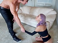 Well-set man checks out little ass and pussy of girl with purple hair then invades her mouth with strong dick 6
