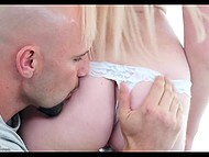 Bald-headed man shows to young blonde how to make fruit salad and deserves blowjob 4