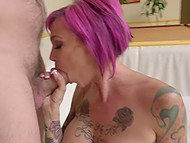 Hypnotizing emo Anna Bell Peaks presents her tattooed goodies to French fucker's disposal 7