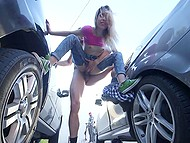 Teenage whore in torn jeans isn't shy to offer pussy for fucking at public parking