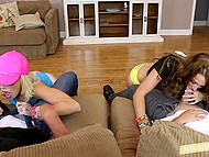 Best friends set tender mouths in motion and their stepfathers let them go at private party 11