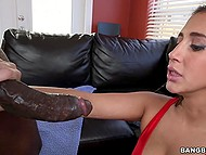 Young woman with natural tits saw black man's wood and decided to help him with her mouth 9