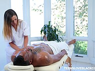 Black man called masseuse home not for massage but to make chick suck his huge cock 6