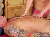 Fiery-red masseuse suddenly puts tender lips around tattooed client's loaded weapon 8