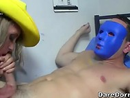 College party becomes dirtier as hottie sucks and rides boner of guy in blue mask 6