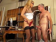 Classy blonde with glasses enjoys partner's throbbing fuckstick in her moist cunny 4