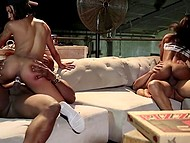 Two ebony couples swing partners during awesome group sex in their headquarters 10