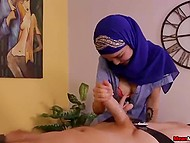 Red-haired client soon understands why Arab masseuse ties him up to table 6