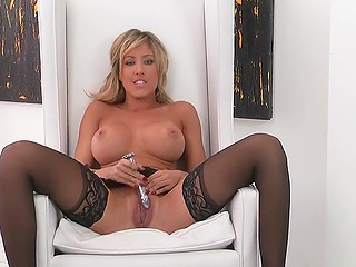 MILF with big titties gives up and allows passion seize her mind starting masturbation with metallic dildo